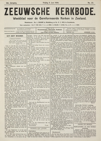 Zeeuwsche kerkbode, weekblad gewijd aan de belangen der gereformeerde kerken/ Zeeuwsch kerkblad 1924-06-06