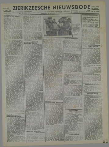 Zierikzeesche Nieuwsbode 1944-02-05