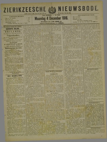 Zierikzeesche Nieuwsbode 1916-12-04