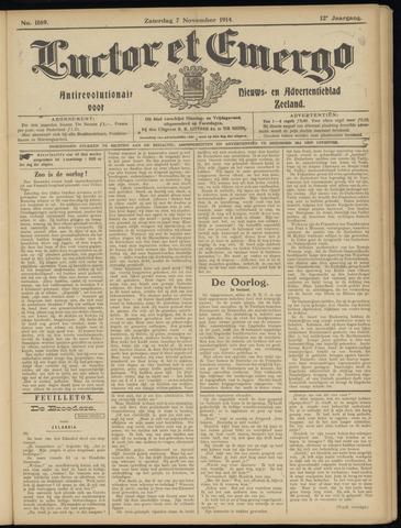 Luctor et Emergo. Antirevolutionair nieuws- en advertentieblad voor Zeeland / Zeeuwsch-Vlaanderen. Orgaan ter verspreiding van de christelijke beginselen in Zeeuwsch-Vlaanderen 1914-11-07