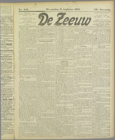 De Zeeuw. Christelijk-historisch nieuwsblad voor Zeeland 1919-08-06