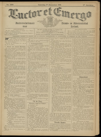 Luctor et Emergo. Antirevolutionair nieuws- en advertentieblad voor Zeeland / Zeeuwsch-Vlaanderen. Orgaan ter verspreiding van de christelijke beginselen in Zeeuwsch-Vlaanderen 1915-12-18