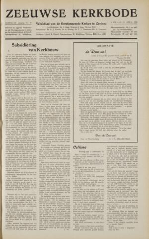 Zeeuwsche kerkbode, weekblad gewijd aan de belangen der gereformeerde kerken/ Zeeuwsch kerkblad 1958-04-11