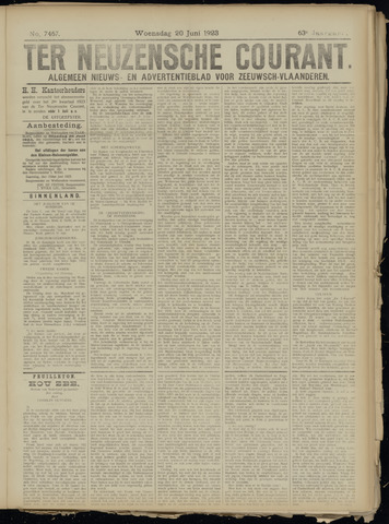 Ter Neuzensche Courant. Algemeen Nieuws- en Advertentieblad voor Zeeuwsch-Vlaanderen / Neuzensche Courant ... (idem) / (Algemeen) nieuws en advertentieblad voor Zeeuwsch-Vlaanderen 1923-06-20