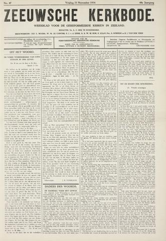 Zeeuwsche kerkbode, weekblad gewijd aan de belangen der gereformeerde kerken/ Zeeuwsch kerkblad 1934-11-23