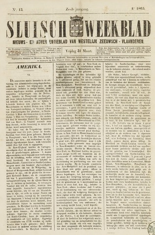 Sluisch Weekblad. Nieuws- en advertentieblad voor Westelijk Zeeuwsch-Vlaanderen 1865-03-31