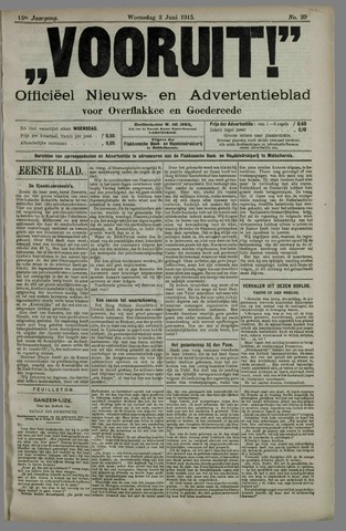 """""""Vooruit!""""Officieel Nieuws- en Advertentieblad voor Overflakkee en Goedereede 1915-06-02"""