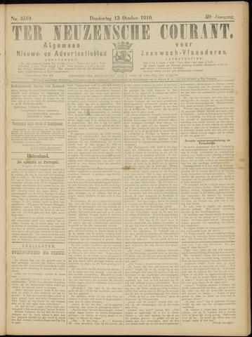 Ter Neuzensche Courant. Algemeen Nieuws- en Advertentieblad voor Zeeuwsch-Vlaanderen / Neuzensche Courant ... (idem) / (Algemeen) nieuws en advertentieblad voor Zeeuwsch-Vlaanderen 1910-10-13