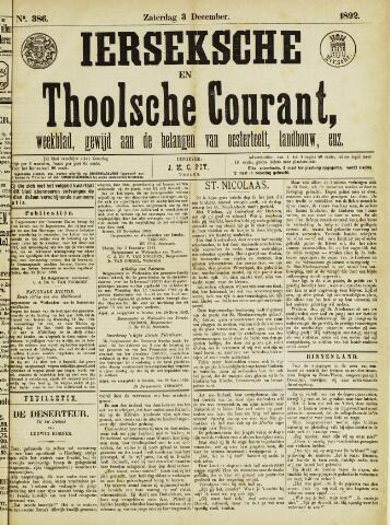 Ierseksche en Thoolsche Courant 1892-12-03