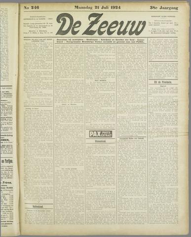 De Zeeuw. Christelijk-historisch nieuwsblad voor Zeeland 1924-07-21