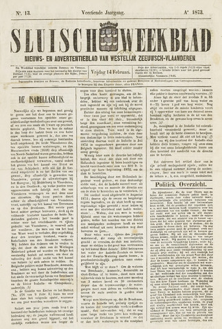 Sluisch Weekblad. Nieuws- en advertentieblad voor Westelijk Zeeuwsch-Vlaanderen 1873-02-14