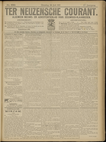 Ter Neuzensche Courant. Algemeen Nieuws- en Advertentieblad voor Zeeuwsch-Vlaanderen / Neuzensche Courant ... (idem) / (Algemeen) nieuws en advertentieblad voor Zeeuwsch-Vlaanderen 1917-07-24