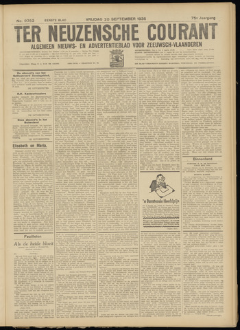 Ter Neuzensche Courant. Algemeen Nieuws- en Advertentieblad voor Zeeuwsch-Vlaanderen / Neuzensche Courant ... (idem) / (Algemeen) nieuws en advertentieblad voor Zeeuwsch-Vlaanderen 1935-09-20