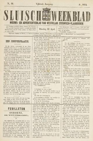 Sluisch Weekblad. Nieuws- en advertentieblad voor Westelijk Zeeuwsch-Vlaanderen 1874-04-21