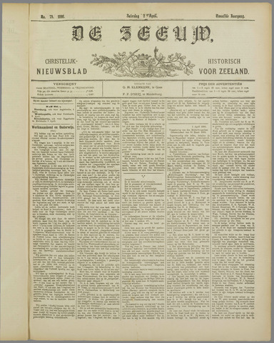 De Zeeuw. Christelijk-historisch nieuwsblad voor Zeeland 1898-04-02