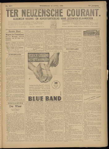 Ter Neuzensche Courant. Algemeen Nieuws- en Advertentieblad voor Zeeuwsch-Vlaanderen / Neuzensche Courant ... (idem) / (Algemeen) nieuws en advertentieblad voor Zeeuwsch-Vlaanderen 1933-04-12