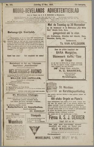 Noord-Bevelands Nieuws- en advertentieblad 1926-11-27