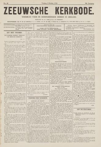 Zeeuwsche kerkbode, weekblad gewijd aan de belangen der gereformeerde kerken/ Zeeuwsch kerkblad 1936-10-02