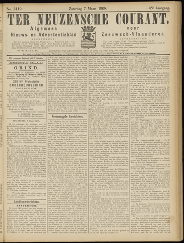 Ter Neuzensche Courant. Algemeen Nieuws- en Advertentieblad voor Zeeuwsch-Vlaanderen / Neuzensche Courant ... (idem) / (Algemeen) nieuws en advertentieblad voor Zeeuwsch-Vlaanderen 1908-03-07