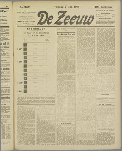 De Zeeuw. Christelijk-historisch nieuwsblad voor Zeeland 1915-07-02