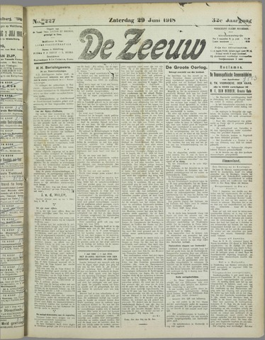De Zeeuw. Christelijk-historisch nieuwsblad voor Zeeland 1918-06-29