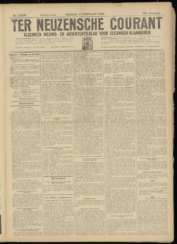 Ter Neuzensche Courant. Algemeen Nieuws- en Advertentieblad voor Zeeuwsch-Vlaanderen / Neuzensche Courant ... (idem) / (Algemeen) nieuws en advertentieblad voor Zeeuwsch-Vlaanderen 1935-02-08