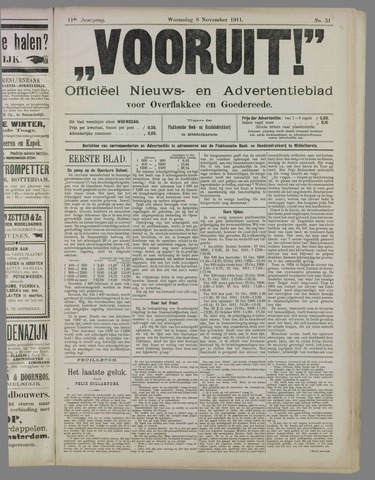 """""""Vooruit!""""Officieel Nieuws- en Advertentieblad voor Overflakkee en Goedereede 1911-11-08"""