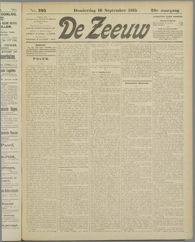 De Zeeuw. Christelijk-historisch nieuwsblad voor Zeeland 1915-09-16