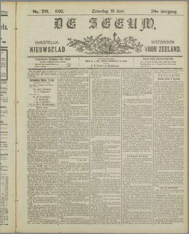 De Zeeuw. Christelijk-historisch nieuwsblad voor Zeeland 1910-06-18