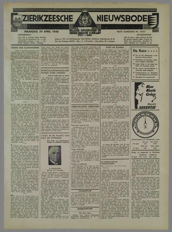 Zierikzeesche Nieuwsbode 1940-04-29