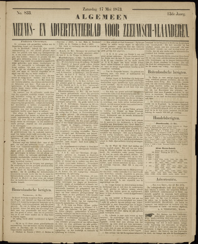 Ter Neuzensche Courant. Algemeen Nieuws- en Advertentieblad voor Zeeuwsch-Vlaanderen / Neuzensche Courant ... (idem) / (Algemeen) nieuws en advertentieblad voor Zeeuwsch-Vlaanderen 1873-05-17