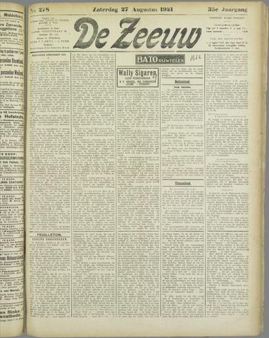 De Zeeuw. Christelijk-historisch nieuwsblad voor Zeeland 1921-08-27