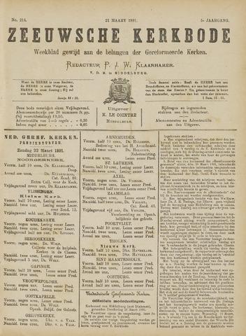 Zeeuwsche kerkbode, weekblad gewijd aan de belangen der gereformeerde kerken/ Zeeuwsch kerkblad 1891-03-21