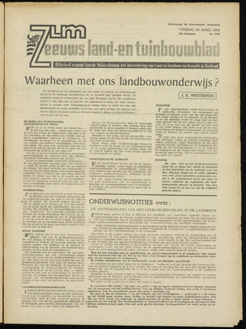 Zeeuwsch landbouwblad ... ZLM land- en tuinbouwblad 1964-04-24