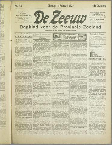 De Zeeuw. Christelijk-historisch nieuwsblad voor Zeeland 1929-02-12