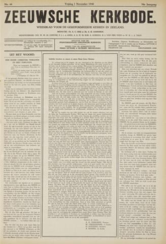 Zeeuwsche kerkbode, weekblad gewijd aan de belangen der gereformeerde kerken/ Zeeuwsch kerkblad 1940-11-01