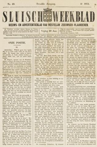 Sluisch Weekblad. Nieuws- en advertentieblad voor Westelijk Zeeuwsch-Vlaanderen 1871-06-30