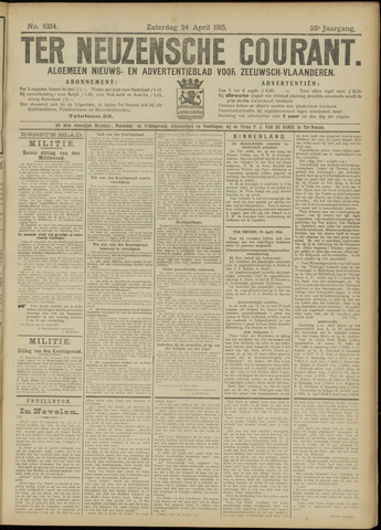 Ter Neuzensche Courant. Algemeen Nieuws- en Advertentieblad voor Zeeuwsch-Vlaanderen / Neuzensche Courant ... (idem) / (Algemeen) nieuws en advertentieblad voor Zeeuwsch-Vlaanderen 1915-04-24