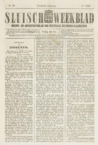 Sluisch Weekblad. Nieuws- en advertentieblad voor Westelijk Zeeuwsch-Vlaanderen 1873-10-24