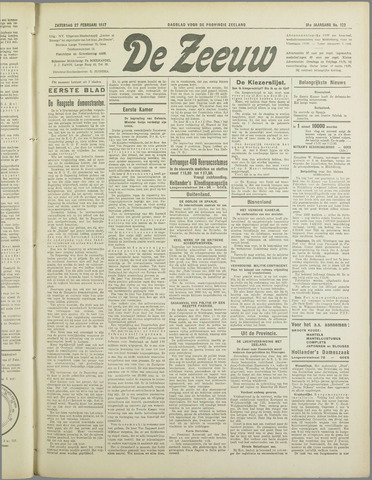 De Zeeuw. Christelijk-historisch nieuwsblad voor Zeeland 1937-02-27