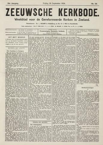 Zeeuwsche kerkbode, weekblad gewijd aan de belangen der gereformeerde kerken/ Zeeuwsch kerkblad 1924-09-26