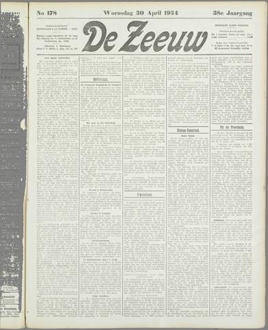 De Zeeuw. Christelijk-historisch nieuwsblad voor Zeeland 1924-04-30