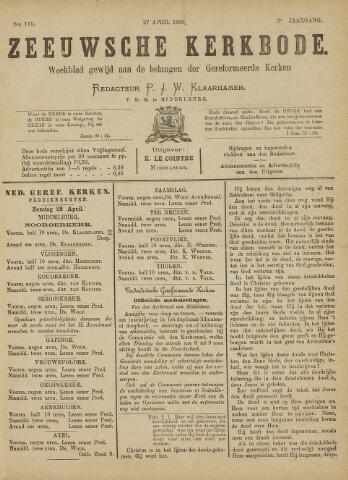 Zeeuwsche kerkbode, weekblad gewijd aan de belangen der gereformeerde kerken/ Zeeuwsch kerkblad 1889-04-27