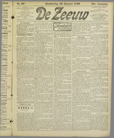 De Zeeuw. Christelijk-historisch nieuwsblad voor Zeeland 1920-01-29