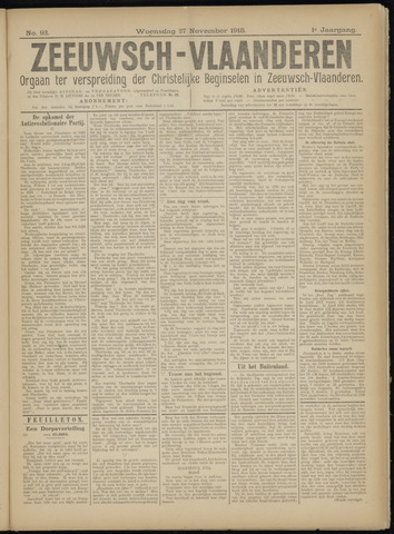 Luctor et Emergo. Antirevolutionair nieuws- en advertentieblad voor Zeeland / Zeeuwsch-Vlaanderen. Orgaan ter verspreiding van de christelijke beginselen in Zeeuwsch-Vlaanderen 1918-11-27