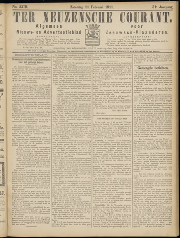 Ter Neuzensche Courant. Algemeen Nieuws- en Advertentieblad voor Zeeuwsch-Vlaanderen / Neuzensche Courant ... (idem) / (Algemeen) nieuws en advertentieblad voor Zeeuwsch-Vlaanderen 1911-02-11
