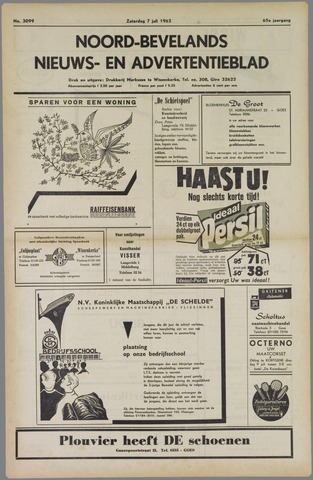 Noord-Bevelands Nieuws- en advertentieblad 1962-07-07