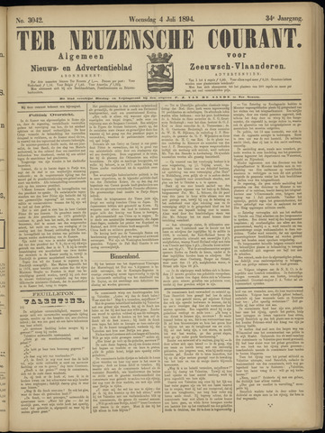 Ter Neuzensche Courant. Algemeen Nieuws- en Advertentieblad voor Zeeuwsch-Vlaanderen / Neuzensche Courant ... (idem) / (Algemeen) nieuws en advertentieblad voor Zeeuwsch-Vlaanderen 1894-07-04