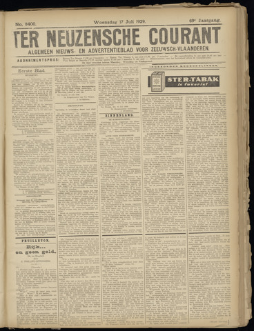 Ter Neuzensche Courant. Algemeen Nieuws- en Advertentieblad voor Zeeuwsch-Vlaanderen / Neuzensche Courant ... (idem) / (Algemeen) nieuws en advertentieblad voor Zeeuwsch-Vlaanderen 1929-07-17