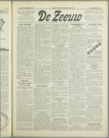 De Zeeuw. Christelijk-historisch nieuwsblad voor Zeeland 1937-08-13